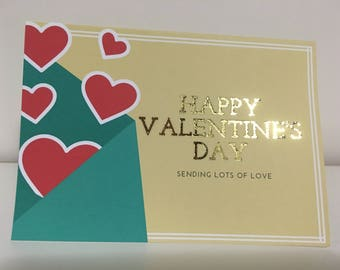 Real Gold Foil Sending Love Valentine's Day Card | Customize | Personalize