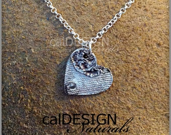 Artisan Made Denim & Floral Lace Necklace, Fine Silver Heart Pendant w Champagne CZ - Valentine's Day and Mother's Day Anniversary