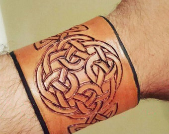 Natural Leather Celtic Cuff