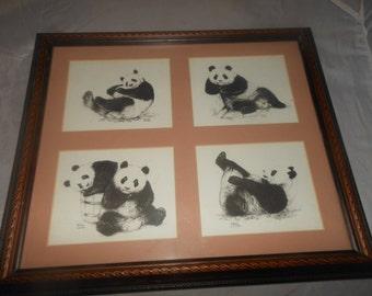 "Panda bear, Hsing Hsing,Ling Ling,Vintage signed print, framed behind matted glass,Warren Cutler,possibly original watercolor, 15"" x 13"""