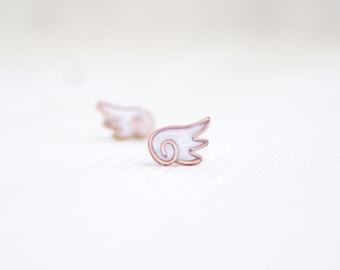 Angel wings stud earrings, bridesmaid earrings, wings polymer clay wedding earrings, copper wings, small resin jewelry
