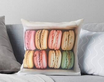 Macaron throw pillow - pillow insert - Paris, Pastel pillow