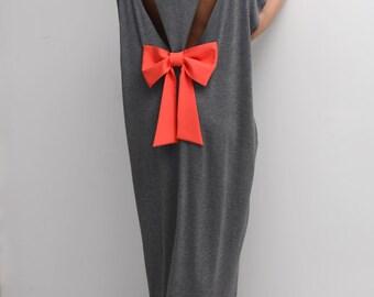 Dark Grey Backless dress, Maxi Dress, caftan, Backless dress, Open back dress, Oversized dress,Cover up dress,Summer dress