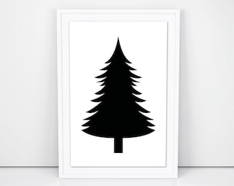 Printable Art, PineTree Silhouette, Gallery Wall Prints, Nursery Wall Art, Wall Decor Printables, Tree Prints, Black and White Decor