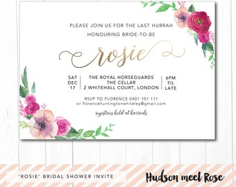 Printable - The 'Rosie' Floral Watercolor Bridal Shower | Hens | Bachelorette Invitation