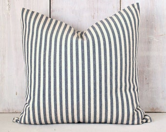 French Farmhouse Throw Pillow Cover - Denim Blue Striped Pillow Cover - Vintage Farmhouse Pillow - Navy Blue and Cream Striped Throw Pillow