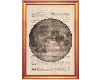 Moon photo on dictionary print handmade illustration printed on old dictionary page vintage feel poster moon poster