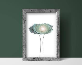 Vulva Poster Green Galaxy | instant download, feminist art, pussy art, vagina, home decor, love yourself, vulva art print, body positivity