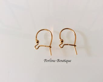2 Gold wires with balls 17 * 10MM 925 Sterling Silver earrings