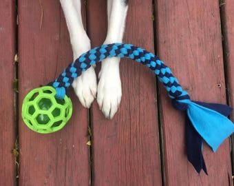 Fleece Squeaky Dog Tug Toy with Two Balls