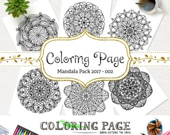 SALE Printable Coloring Page Doodle Mandala Instant Download Adult Coloring Book Download Art Therapy Coloring Pages DIY Printable Wall Art