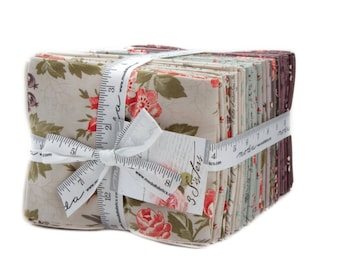 """Moda - Fat Quarter Bundle """"Quill"""" by 3 Sisters, 40 different fabrics, 44150AB, floral fabric, purple floral fabric, grey floral fabric."""