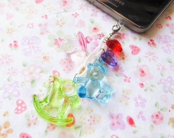 Baby Kei Phone Charm, Planner Charm, Dust Plug, Teddy Bear, Rocking Horse, Sweet Lolita, Cute, iPod, iPhone, Android, Cell Phone, Phone