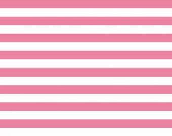 Riley Blake Hot pink and White half inch Stripe knit fabric --1 yard