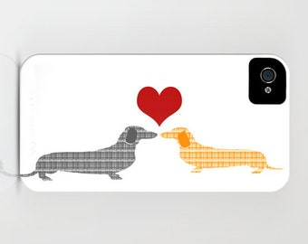 Two Dachshund Dogs in love on Phone Case - Dog Gifts, iPhone 6S, iPhone 6 Plus, Dachshund Gifts, Dachshund Gifts for Him, Dog Gift Ideas