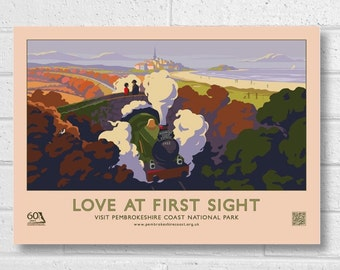 "Pembrokeshire Coast ""Love At First Sight"" 60th Anniversary Retro Poster."