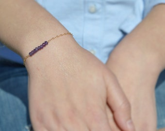 Amethyst Bracelet, Danity Stacking Bracelet, 14k Gold Fill, Sterling Silver, Rose Gold, Purple Bracelet, Bar Bracelet, Gold Amethyst