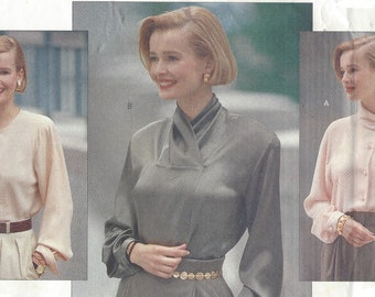 90s Anne Klein Womens Set of Blouses Button Front High Collar Perfect for Suits Vogue Sewing Pattern 2565 Size 12 14 16 Bust 34 36 38 FF