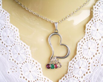 Birthstone Heart Charm Necklace Mothers Day Gift for Wife Birthstone Jewelry Gift for Grandmom Gift for Wife Family Tree Necklace Nana gift