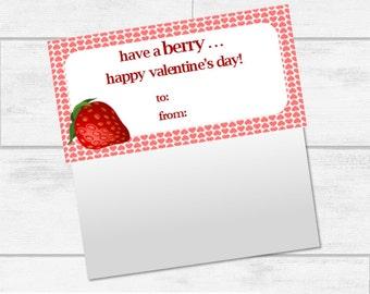 Valentine's Day Strawberry Bag Topper Printables INSTANT DOWNLOAD