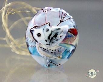 Glass Lampwork Focal Bead-SRA- artist-handmade-Manuela Wutschke-Artisan-snow-owl-winter-lentil