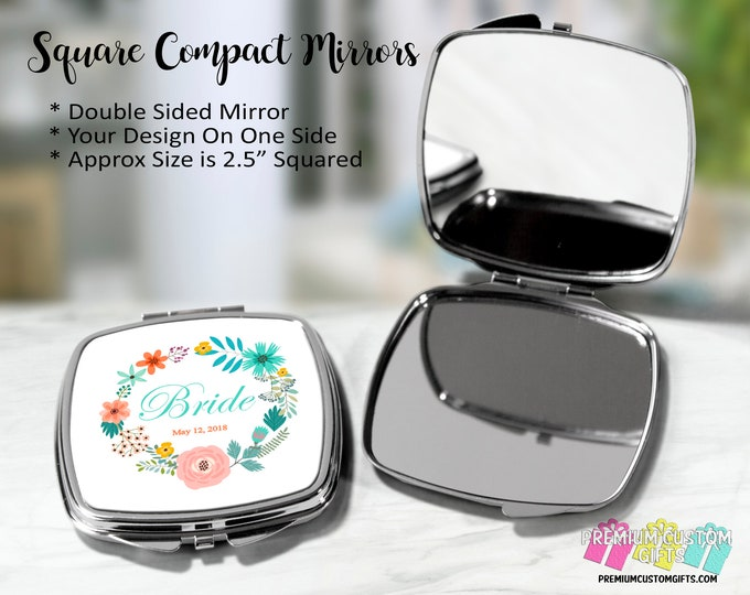 Custom Personalized Pocket Mirror - Bridal Party Gift - Double Mirror Compact Mirror - Bride Gift - Bridesmaid Gift - Mother's Wedding Gift
