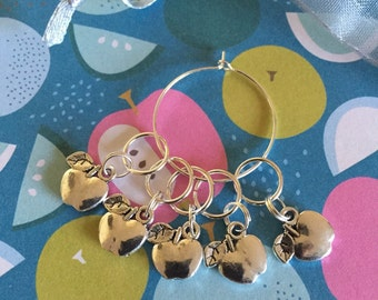 Set of 5 Apples Knitting Crochet Stitch Markers Progress Keepers