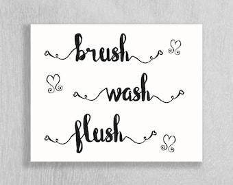 Bathroom Art Download - Brush Wash Flush - Instant Download!! - Hearts - 8 x 10