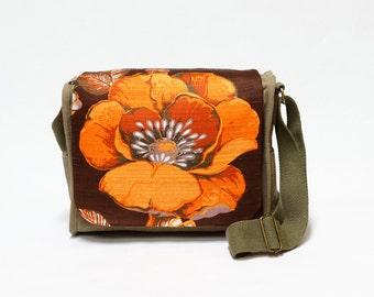 Rhoda - Vintage Fabric upcycled canvas shoulder bag by EllaOsix