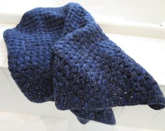 Super Soft Chunky Hand Crochet Throw Vintage Crochet Afghan Throw Blanket Blue Hand Crochet Throw Handmade Lap Blanket Vintage Baby Blanket