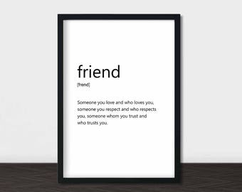 Friend Definition Print, Friend Word Art, Minimalist Poster, Minimalist Print, Definition, Scandi Print, Scandinavian Typography Print