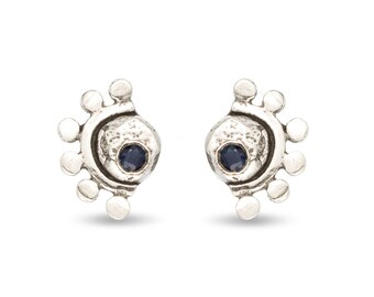 Sterling silver oriana stud earrings with blue sapphire