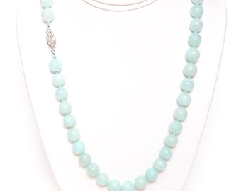"""Caribbean Blue Amazonite Necklace 20"""" Long with 925 Sterling Silver Clasp"""