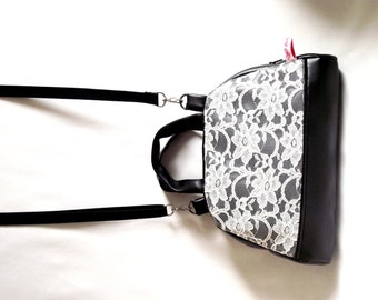 """""""Bowling"""" vintage, off white lace and black leather handbag"""