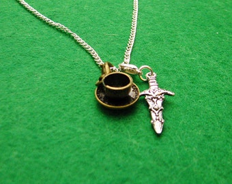 Once upon a time dagger chipped cup Rumbelle necklace charm knife dark one gift idea love