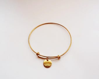 Teens Initial bangle bracelet, initial bracelet, bangle bracelet, handstamped bracelet, personalized disc bracelet, Brass bracelet