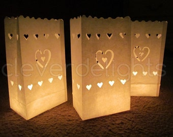 10 Luminary Bags - White - Center Heart Design - Wedding, Reception, and Party Decor - Flame Resistant Paper - Candle Bag - Luminaria