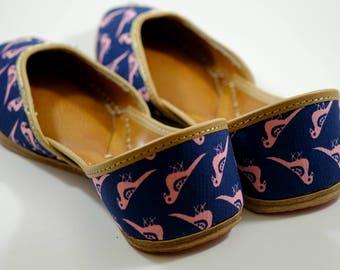 FINAL SALE  !Pink Dove Cotton based Printed  Leather Ballet Flats/Mojari/Khussa(Handmade Indian Ethnic Flats/Jooties)