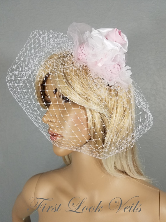 Birdcage Bridal Veil, Wedding Veil, White Veil, Floral, Flowers, Bride, Accessory, Gift