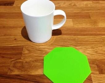 Octagon Shaped Lime Green Gloss Finish Acrylic Coasters