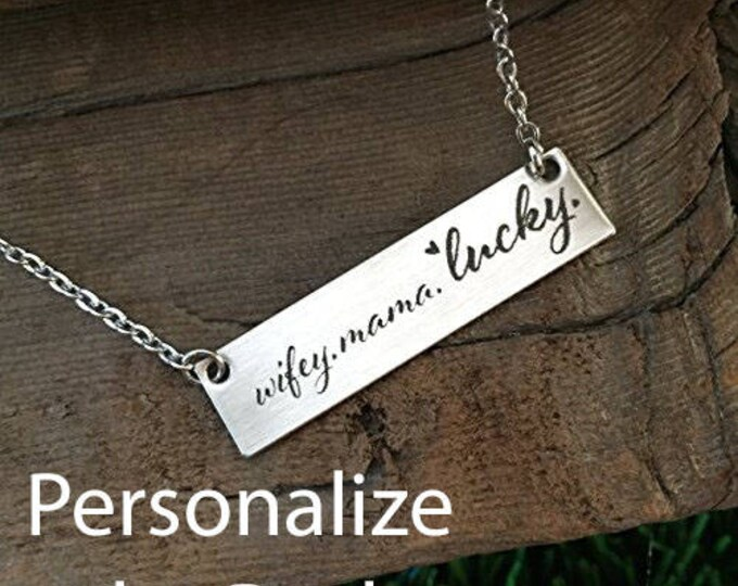 Wifey. Mama. Lucky Necklace Best Mom Ever Gift From Kids Mom Life Good Life Mothers Day Best Kids Ever Birthday Jewlery Accessory