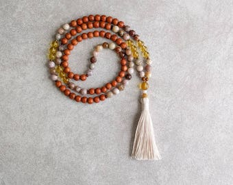 Mala Beads Citrine and Agate with Natural Wood - Gift For Her - Confidence & Individuality - Solar Plexus -  Yoga Necklace - Item # 718