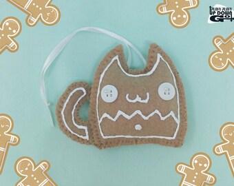 Kawaii Christmas Gingerbread Cookie Cat Stuffed Ornament & Kawaii Christmas Tree Decoration, Kawaii Food Christmas Ornament