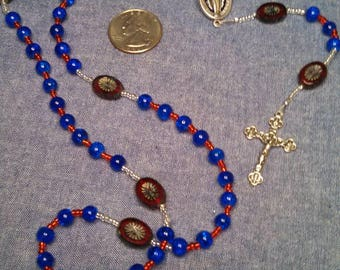 Red and blue glass Miraculous Medal rosary
