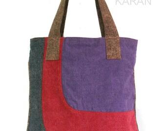 Tote bag Cotton bag Zip tote Shoulder bag large purse Casual bag women handbag weekend bag