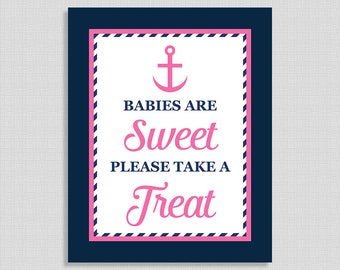 Babies Are Sweet Please Take A Treat Baby Shower Sign, Nautical Anchor Baby Shower Dessert Favor Sign, Navy & Pink, INSTANT PRINTABLE
