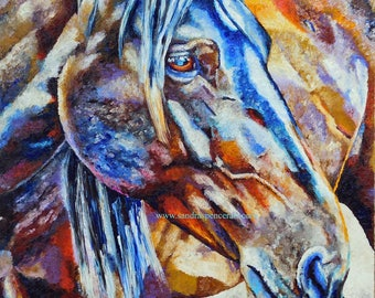 """Original Horse Oil Painting 30""""x30"""" BIG painted by knife"""