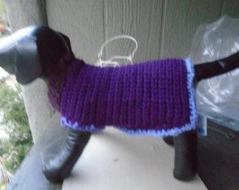 XS Purple Hand-crocheted Dog Sweater