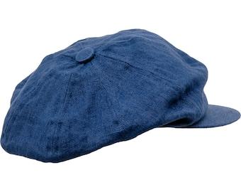 VIGO - 8 Panels 100% Linen Summer Newsboy Cap - blue