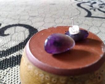 Genuine Amethyst studs handmade